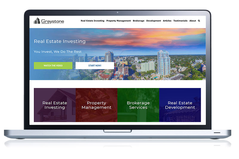 real estate website on computer screen